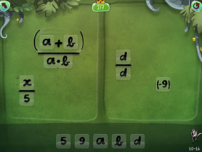 The play screen is shown with variables and numbers instead of icons and elements.