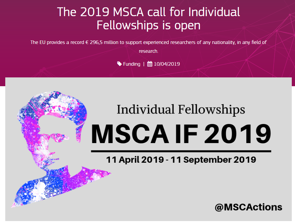 The 2020 call for MSCA IF is expected in spring 2020. The 2019 call for MSCA IF was open till September 2019.