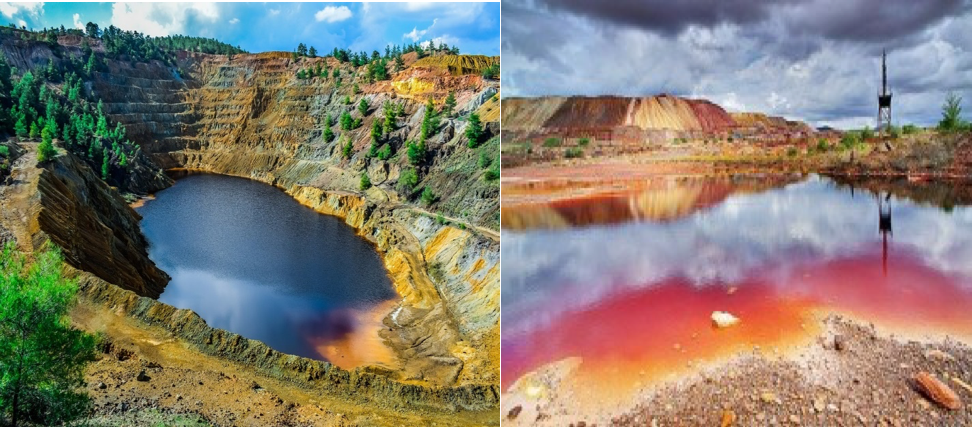 Figure 1. Examples of AMD near mine waste sites2